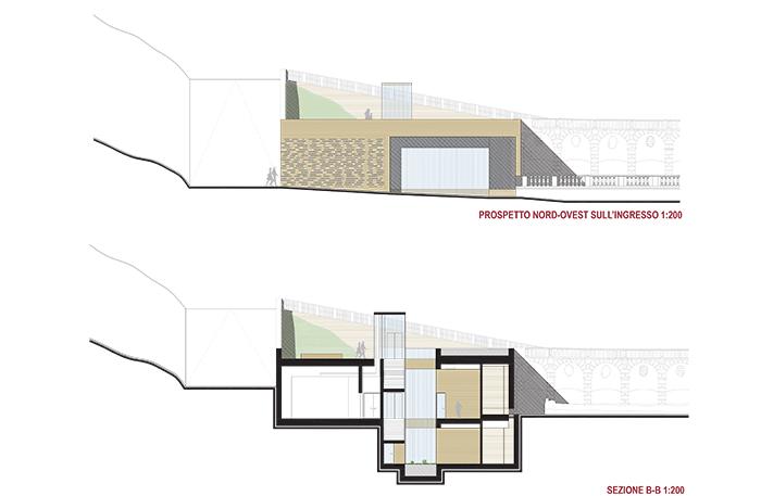 Villa della Regina_prospetto e sezione frontali