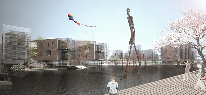 Europan 12, Assen, square building waterfront